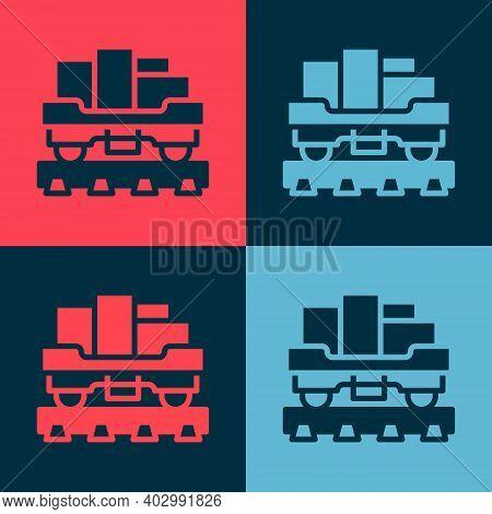 Pop Art Cargo Train Wagon Icon Isolated On Color Background. Full Freight Car. Railroad Transportati