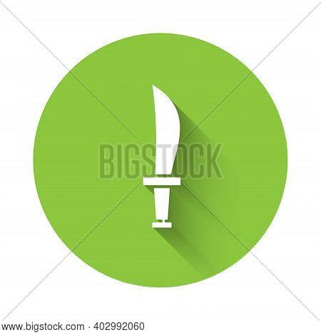 White Pirate Sword Icon Isolated With Long Shadow. Sabre Sign. Green Circle Button. Vector