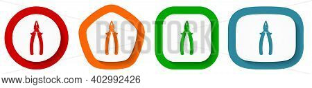 Pliers Tool, Equipment Vector Icon Set, Flat Design Buttons On White Background