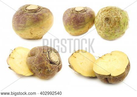 fresh turnips  (brassica rapa rapa) and some cut ones on a white background