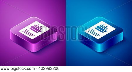 Isometric Cruise Ship Icon Isolated On Blue And Purple Background. Travel Tourism Nautical Transport