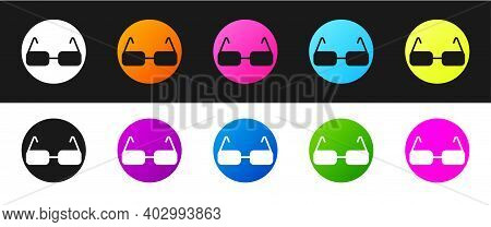 Set Glasses Icon Isolated On Black And White Background. Eyeglass Frame Symbol. Vector
