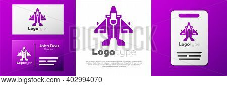 Logotype Jet Fighter Icon Isolated On White Background. Military Aircraft. Logo Design Template Elem