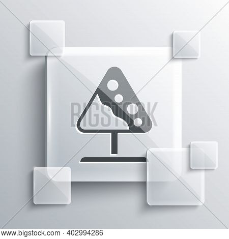 Grey Road Sign Avalanches Icon Isolated On Grey Background. Snowslide Or Snowslip Rapid Flow Of Snow