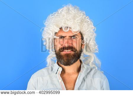 Serious Man Portrait. Man In White Wig. Brutal Bearded Man. Portrait Of Serious Man. Isolated