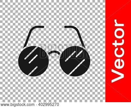 Black Eyeglasses Icon Isolated On Transparent Background. Vector