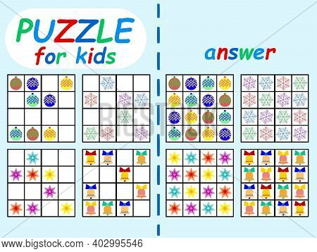 Sudoku Set With Answer For Kids Stock Vector Illustration. Educational Logical Game Colorful Horizon