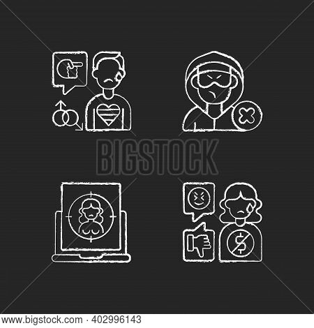Cyber Bullying Chalk White Icons Set On Black Background. Block Or Mute Harasser. Online Sexual Hara