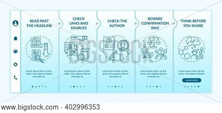 Misleading Information Checking Tips Onboarding Vector Template. Checking Links, Sources. Confirmati