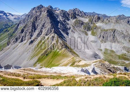 Mountain Landscape And Mone Pass In Pralognan La Vanoise, French Alps, France