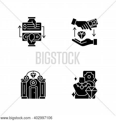 Popshop Black Glyph Icons Set On White Space. Paid Check Cashing. Money Loan. Upscale Pawnshops. Pro