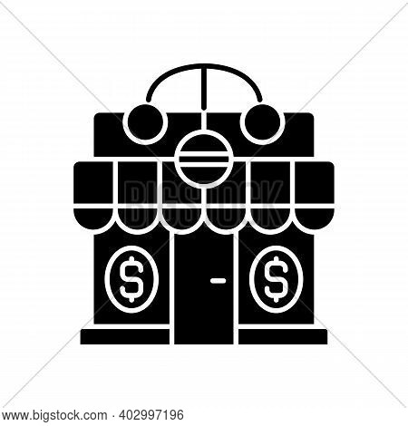 Pawnshop Black Glyph Icon. Loaning Money Business. Collateral-based Loans. Reselling Retail Items. L