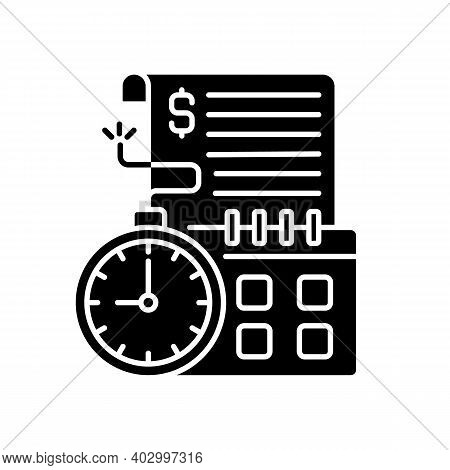 Time Limit Black Glyph Icon. Repaying By Stated Date. Loans With Term Lengths. Monthly Payments. Int