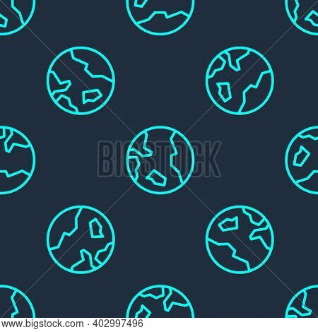 Green Line Earth Globe Icon Isolated Seamless Pattern On Blue Background. World Or Earth Sign. Globa