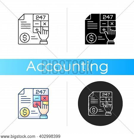Accounting Icon. Measurement And Processing Of Financial Information About Economic Entities In Busi