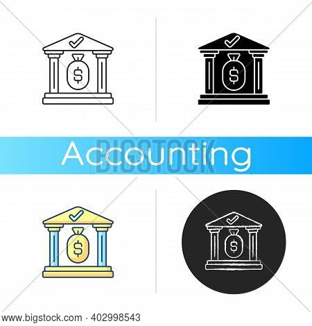 Treasury Icon. Government Department Related To Finance And Taxation. Location Where Precious Items