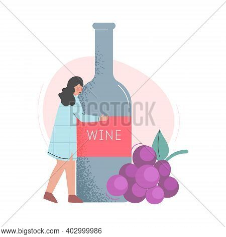 Drunk Woman Hugging Huge Bottle Of Wine Cartoon Style Vector Illustration