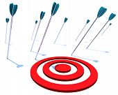 Many arrows miss their intended target symbolizing a goal not achieved poster