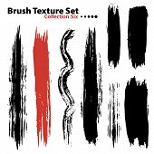 Vector outline traces of customizable organic paint brushes (strokes) in different shapes and styles highly detailed. Grouped individually easily editable. Collection set number 5. poster