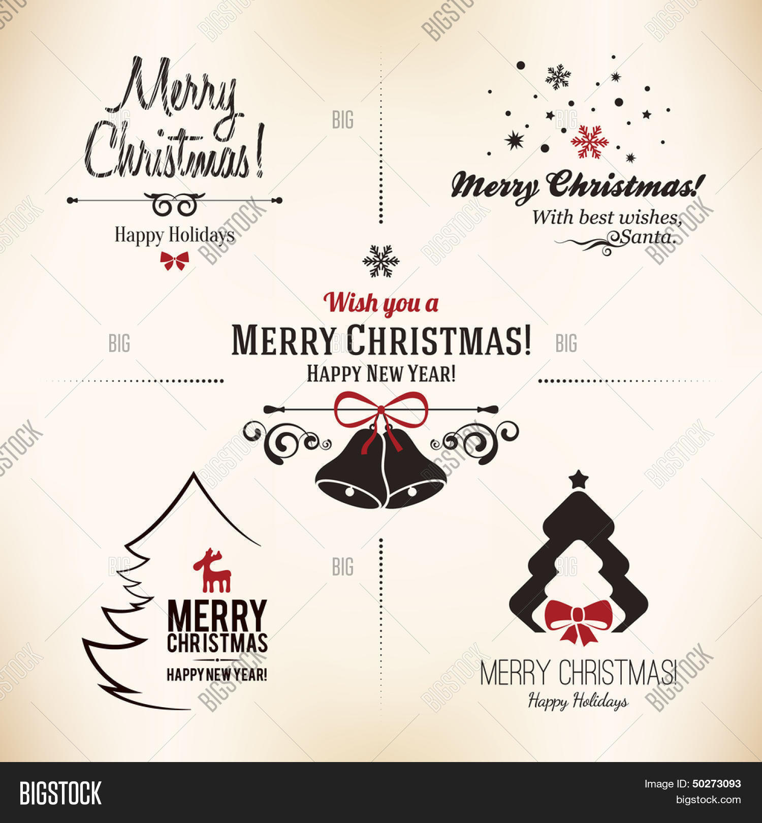 Christmas New Year Symbols Designs Vector Photo Bigstock
