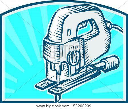 Jigsaw Power Tool Woodcut Retro