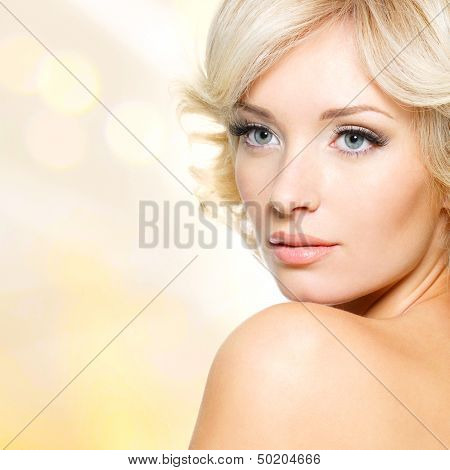 Face Of Beautiful Woman With White Hair