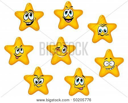 Yellow stars with emotional faces