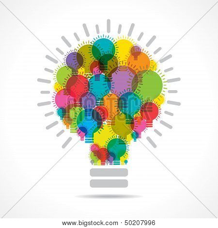 colorful light bulbs form a big bulb