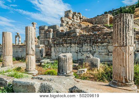 Ephesus ancient greek ruins in Anatolia Turkey poster
