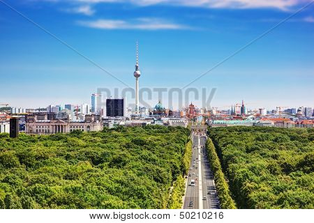 Berlin panorama. Top view on Television Tower, Berlin Catherdral, Brandenburg Gate and Reichstag. View from the Victory Column