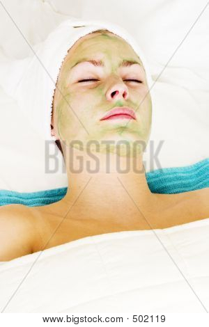 aloe vera facial preparation at a beauty spa. poster