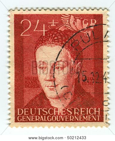 DEUTSCHES REICH  - CIRCA 1942:A stamp printed in Deutsches Reich shows image of the Hans Durer ( February 21, 1490 - ca. 1538), was a German Renaissance painter, illustrator, and engraver, circa 1942.