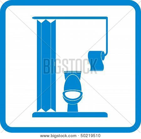 restroom icon with pan and toilet paper