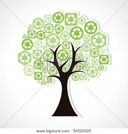 tree forming by green recycle icons
