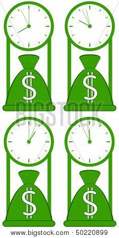 money bag with clock
