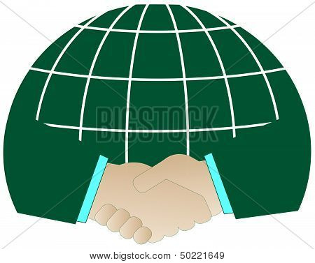 successful handshake and green planet