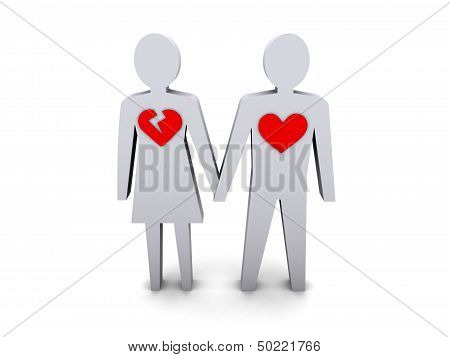 Couple. Woman with broken heart. Concept 3D illustration.