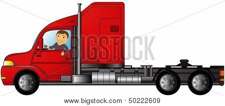 truck with man showing thumb up