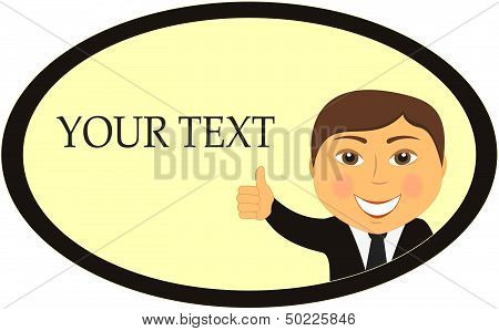 businessman smile and showing thumb up