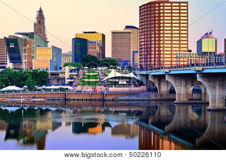 Skyline of downtown Hartford, Connecticut. poster