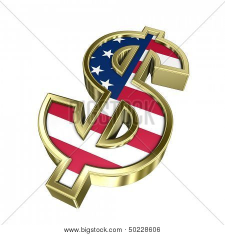 Dollar sign isolated on white. Computer generated 3D photo rendering.
