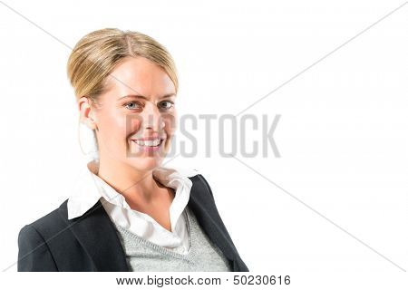 Young woman in front of white background, maybe she is a businesswoman or laywer