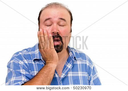 Lethargic lazy man with his hand raised to his cheek and eyes closed and a bored disinterested expression isolated on white poster
