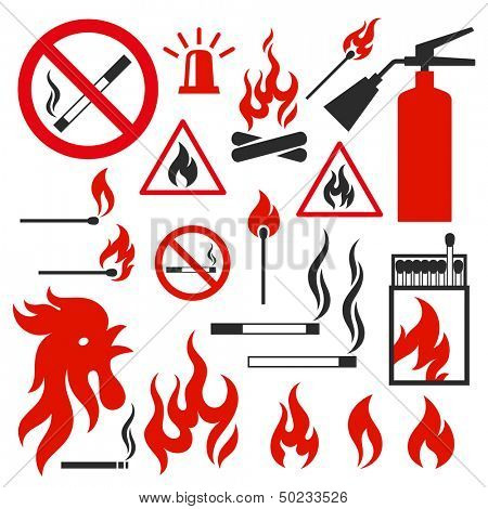 Set of fire vector icons on white background. Illustration on the theme of fire