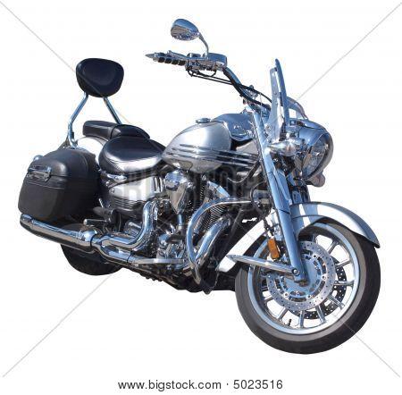 Motocicleta con detalles cromados