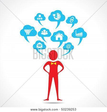 man thinking about social media vector