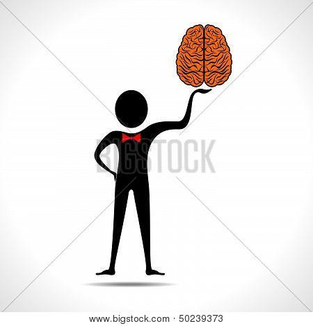 Man holding brain icon vector