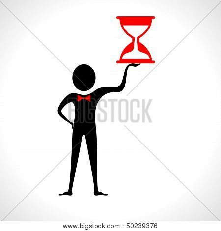 man with sand clock stock vector