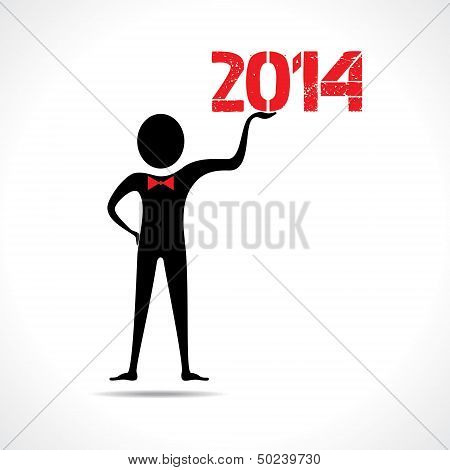 Man holding 2014 text - stock vector