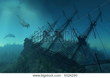 Shipwreck Beneath The Sea